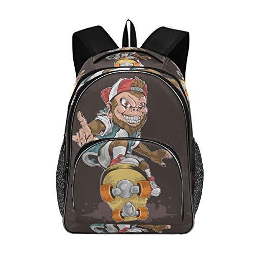 Laptop Backpacks for Women Men - Skateboard Monkey Pop Punk Large Bookbag Fit 17 Inch Computer Bookbag for School Business Travel Yoga