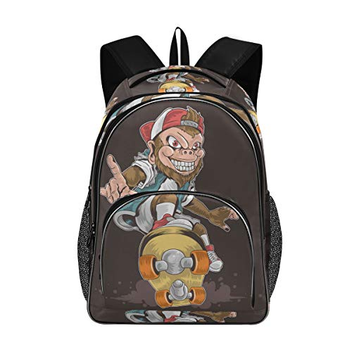 Laptop Backpacks for Women Men - Skateboard Monkey Pop Punk Large Bookbag Fit 17 Inch Computer Bookbag for School Business Travel Yoga