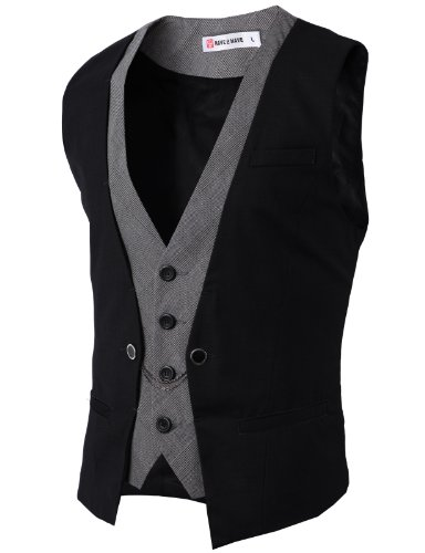 H2H Mens Classic Fashion Business Suit Layered Vest with Chain Rings Black US 3XL/Asia 4XL (CMOV01)