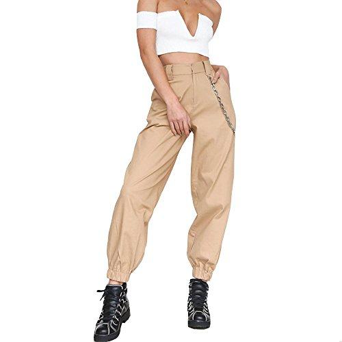 Women's Casual Baggy Hip Hop Pants Stylish Chain Loose Sport Harem Cargo Pants Khaki