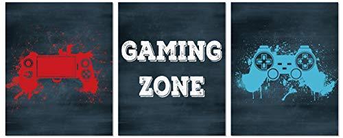 KAIRNE 3er Set Gaming Poster,Bilder für Gamer,Videospiel Wandbild,Game Leinwand Wandkunst für Jungen Teenager Schlafzimmer Spielzimmer Kinderzimmer Geschenk Dekor,Gaming Zone Bild(12
