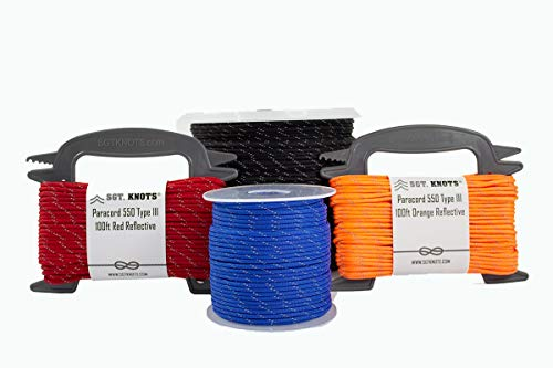 SGT KNOTS Type III Paracord 550-7 Strand Utility Parachute Cord for Crafting, Camping & More (1000ft, Black)