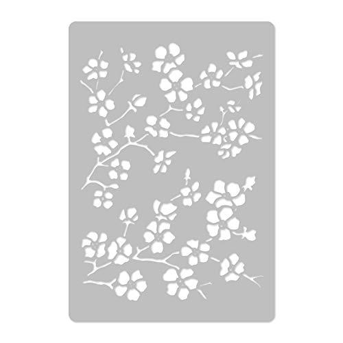 Wiederverwendbare Wandschablone aus Kunststoff // 65x95cm // Kirschblüte - Blume - Kirsche - Ast // Muster Schablone Vorlage