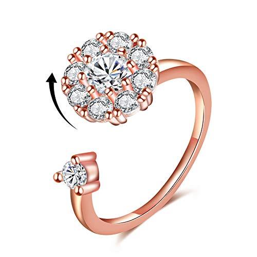 Rose Gold Rings for Women Girls Fidget Rings Adjustable Spinner Ring Diamond Rotating Ring Open Bling Rings Christmas Gifts (Rose Gold Band Ring)