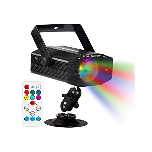 GUSODOR Luz de Escenario 7 Colores Mini Luz de Escenario Efecto Onda de Agua con Control Remoto Disco de Luz DJ Disco Efecto Proyector Sonido Activado Color para Hogar Cumpleaños Karaoke DJ Partes