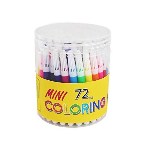S & E TEACHER'S EDITION Mini Watercolor Pens 72Pcs, Felt-tip, 3.5' Pens, Set of 12 Assorted Colors.
