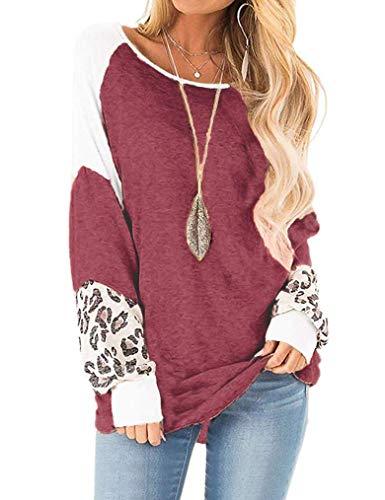 Naggoo Damen Raglan-Shirt mit Leopardenmuster, Rundhalsausschnitt, langärmelig, lockere Tunika, Tops, Pullover - Rot - Klein