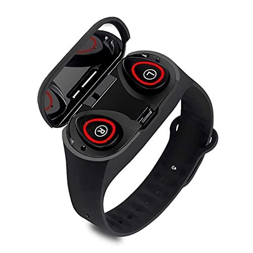 Pulsera Auriculares Bluetooth 2-en-1 Pantalla táctil Multi Language Tasa de corazón Monitor de Sueño Pulsera Deportiva (Color: Negro) DAKSL (Color : Black)