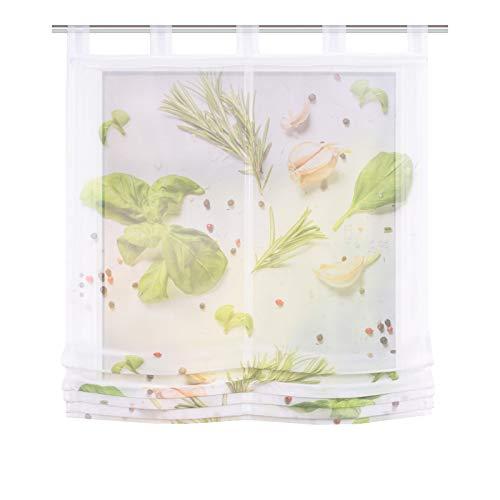 HOME WOHNIDEEN Spices Raffrollo Kräuter transparent 60/80/100/120x140 cm grün 100x140