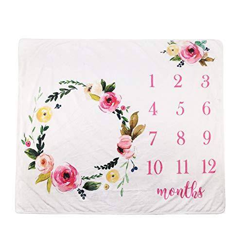 La fotografía apoya recién Nacido Cubierta, Puntales bebé de algodón Impresas mensuales Milestone Wrap Swaddle Mantas, Regalo de la Ducha de bebé,6