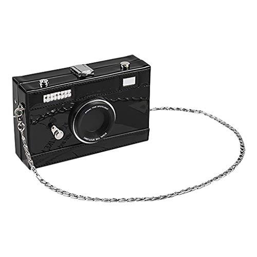 TIFIY Damen Rucksack Mode Frauen Kamera-Like Leder Umhängetasche Umhängetaschen Kette Weird Taschen Arbeits Täglich Bankett Elegant Tasche(Schwarz)