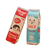 SunEast - Astuccio creativo a forma di cartone del latte, in pelle sintetica, con cerniera, per cancelleria, cosmetici, trucchi, per scuola, studenti, ufficio, ragazze e ragazzi 20 * 5 * 6cm 2Pcs
