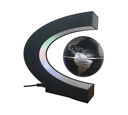 doyime Floating Globe mit LED-Lichtern Magnetfeld Schwebender Globus Home Office Dekoration Globe Form C Business gifts- schwarz