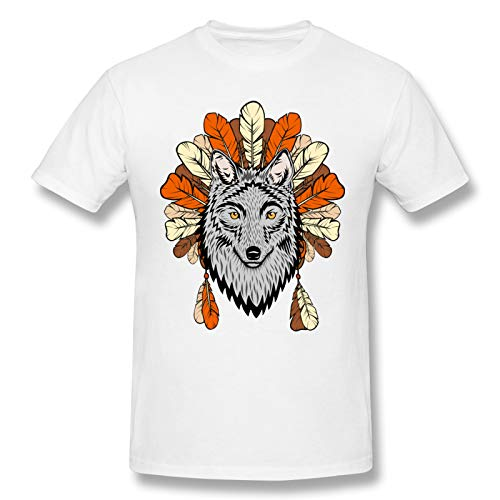 Wolf Head Pattern Men Standard Tee White 5XL