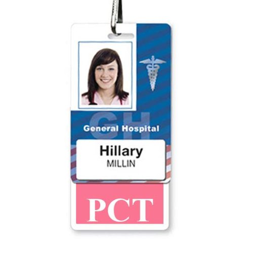PCT Badge Buddy - Heavy Duty Badge Buddies for Care Technicians - Spill & Tear Proof Cards - 2 Sided USA Printed Quick Role Identifier ID Tag Backer by Specialist ID