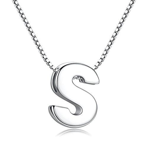 Candyfancy Buchstaben Kette - Buchstabenkette Kette mit Buchstabenanhänger Silber Halskette Kettenanhänger Initialen Silberkette Damen 925 (Kette mit Buchstabe S)
