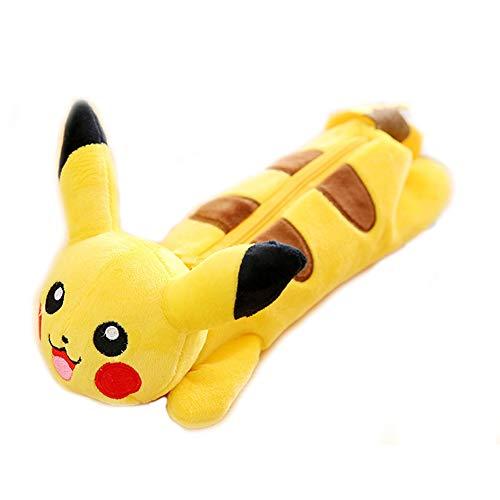 Pikachu Plush Pencil Case, Pocket Monster Cartoon Stationery Bag Pen Organizer