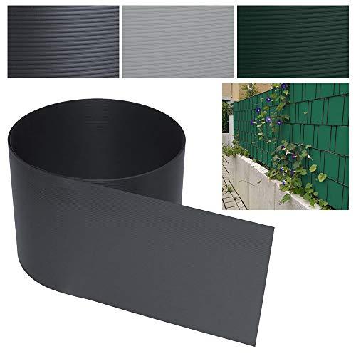 40 Stück Sichtschutzstreifen-Anthrazit Hartes PVC Höhe 19 cm x Breite 252 cm Einstab und Doppelstabmatten UV-Resistent Für Garten Balkon effektiver Sichtschutzfolie