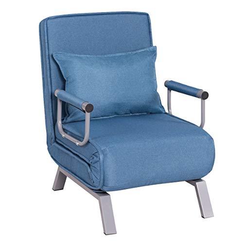 COSTWAY Sofá Cama Plegable Individual Silla Sillón Ajustable Tumbona con Colchón para Oficina Balcón Jardín (Azul)