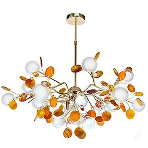 G4 Sputnik Firefly Chandelier Cromo pulido Starburst Lámpara colgante Industrial Modern Molecule Branch Lámpara de techo para sala de estar Comedor Pasillo Sala de estudio-Amarillo 27 luz