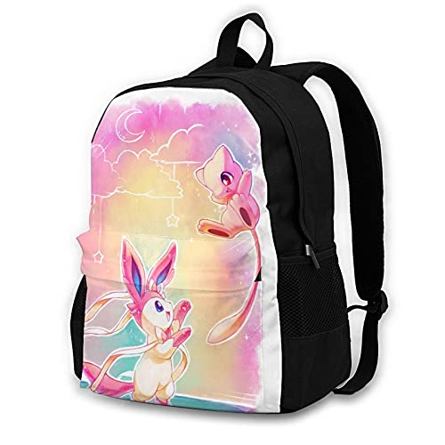 Sylveon Mew Adult Backpack Unisex Polyester Casual Backpacks Travel School Game Bag