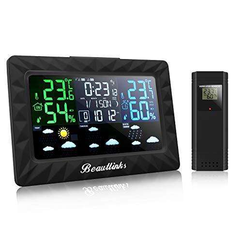 Beautlinks Funk Wetterstation mit LCD Farbdisplay, Innen Außen Hygrometer Digital Thermometer, Mond Phase, DREI-Tage-Wettervorhersage, Wecker für Zuhause Büro Schlafzimmer (Inkl. Eins Außensensor)