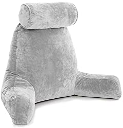 Husband Pillow Review - Large backrest Reading Pillow with arms grey color