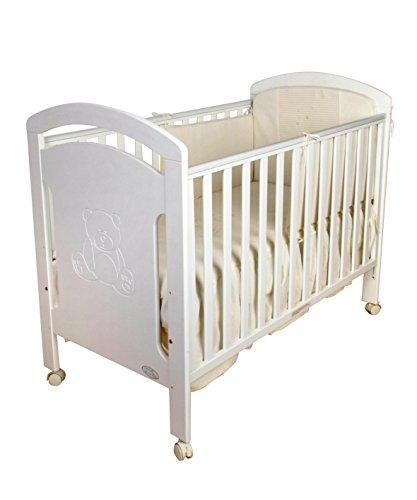 Cuna para bebé, modelo osito + Colchón Viscoelástico + Edredón y P
