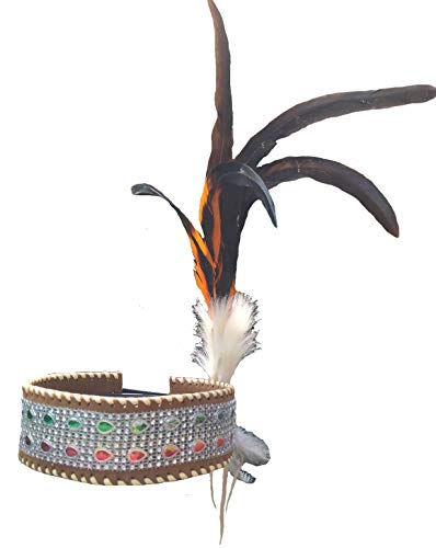 H24 - Headband Black Orange Colors Feather and Feathers Hanging