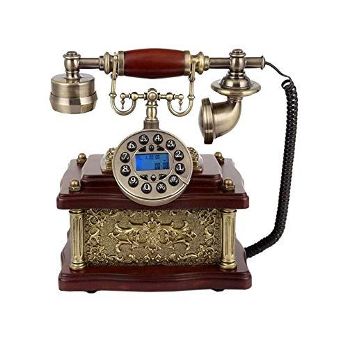 SQL Línea Fija Multifuncional Teléfono de Estilo Antiguo de Resina y Cuerpo de Metal con Cable clásico clásico teléfono con Altavoz decoración de la Vendimia