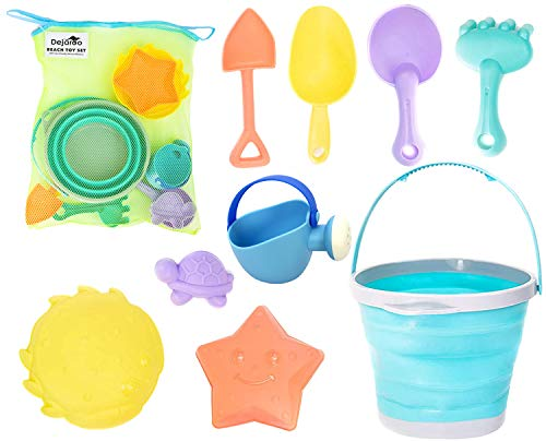 Dejaroo Beach Toys and Sand Toys Set for Kids - Collapsible Silicone Buckets and Shovels for Kids, Toddlers, Adults or Anyone Making a Sand Castle - Includes, Shovels, Buckets, Molds, Rakes and More