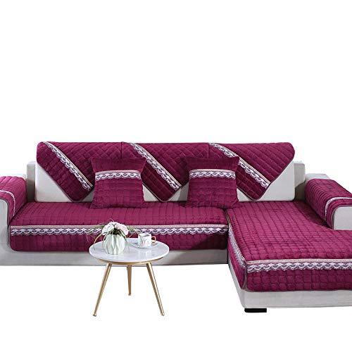 CC.Stars Cubre Antideslizante/Protector de Sofá,Fundas de sofá de Felpa Estilo para Sala de Estar, Funda de sofá 1/2/3/4 Funda de Silla de sofá de Asiento, Toalla de sofá-Red Lace_80x120cm