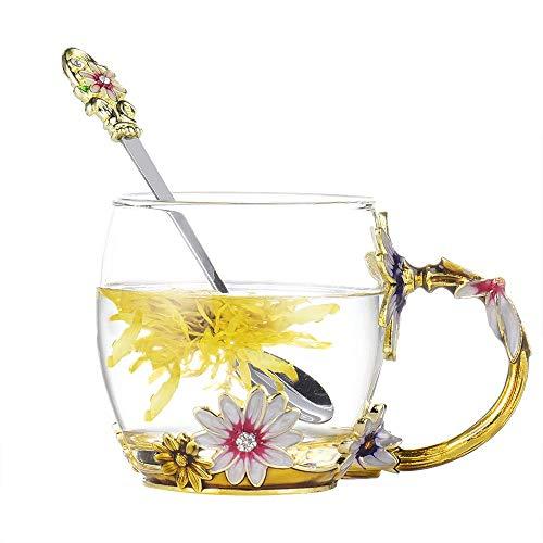 evecase Emails Butterfly Flower Bleifreies Glas Kaffeetassen Teetasse mit Stahllöffel Geschenke für Frauen Frau Mutter Lehrer Freunde Geburtstag Mütter Valentinstag