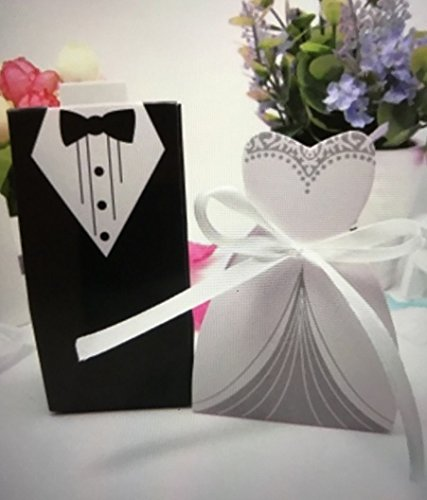 100pc wedding Favor Gift Box Set/Groom Tuxedo Bride Dress+Ribbon/Paper/Party A4 US Seller Ship Fast
