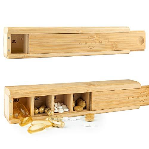 TabTime - Dispensador de pastillas semanal de bambú para 7 días, perfecto para vitaminas, pastillas y complementos alimenticios