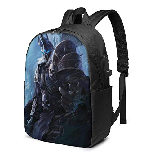 World of Lich King Laptop Backpack- with USB Charging Port/Stylish Casual Waterproof Backpacks Fits Most Laptops and Tablets