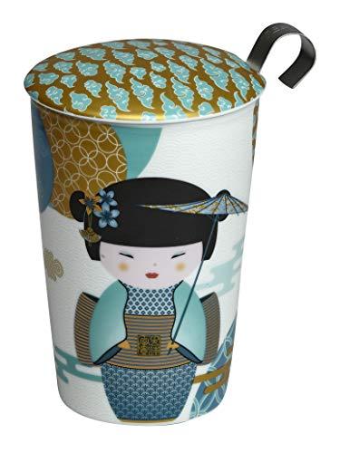 Eigenart TEAEVE Teetasse, Becher mit Sieb + Deckel, New Little Geisha Petrol im Geschenkkarton