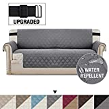 H.VERSAILTEX Reversible Sofa Slipcover Quilted Furniture Protector with 2' Elastic Strap Water Resistant Sofa Covers Seat Width Up to 66' Slipcover Protect from Dogs (Sofa, Grey/Beige)