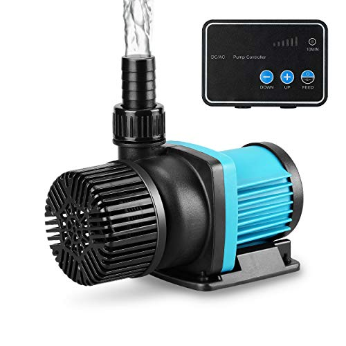 JEREPET Aquarium 24V DC Water Pump with Controller, Submersible and Inline Return Pump for Fish Tank,Aquariums,Fountains,Sump,Hydroponic,Pond,Freshwater and Marine Water Use (1250GPH,32W,13.1FT)