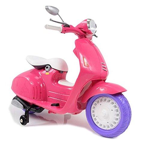 Moto eléctrica 12 V estilo Vespa rosa.