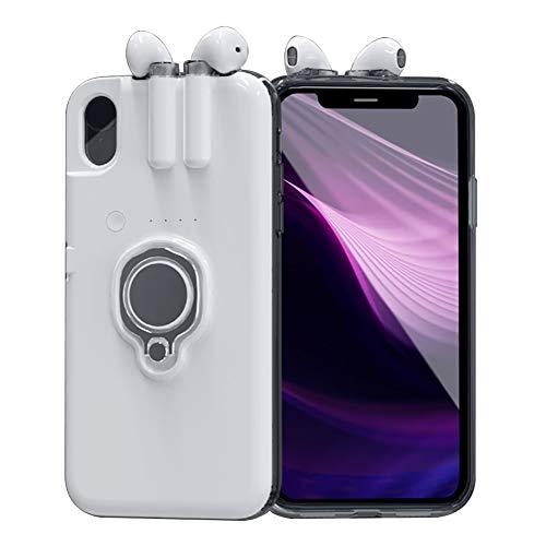 OcaseQ Hülle für iPhone X/XS/XS Max 3 in 1 Kopfhörer Wiederaufladbare Handyhülle mit Bluetooth 5.0 Kopfhörer Tragbarer Ladehülle Magnetic Car Mount Stoßfest Schutzhülle Cover,Weiß,6/6s