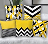 Swasiya Satin Printed Digital Desgin Decorative Sofa Cushion Cover Pack of 5 ( 40x40 cm or 16x16 Inch )- Set of 5 Yellow & Black