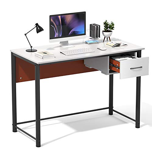 Homfio Computer Desk, 43 inches with Storage Drawer for Home Office Writing Desk, Makeup Table, Study Table Computer Workstation, Makeup Vanity Console Table,Modern Industrial Desk, White