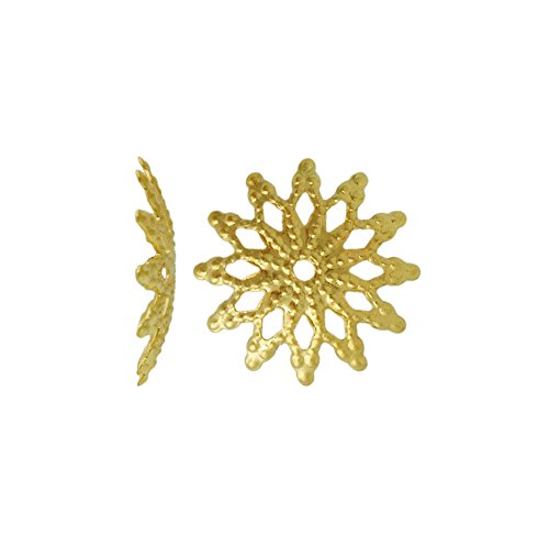 Fashion 20g About 154pcs Bead Caps Filigree Iron Color Gold Size 13x13x2 mm Hole Size 1mm Shape Flower