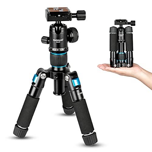 Koolehaoda tragbares Mini-Stativ Aluminiumlegierung Desktop-Stativ Höhe 20 Zoll / 51 cm, mit 360-Grad-Kugelkopf und Tasche, geeignet für SLR-Kameras, Camcorder. Zuladung bis 5kg (blau)