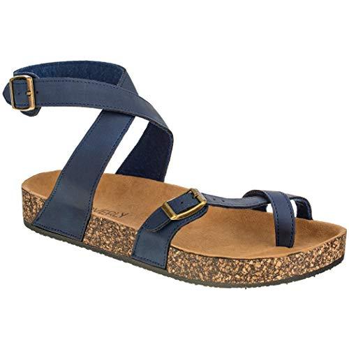 CLOVERLY Women's Sandals Slip On Ankle Wrap Cork Sole Footbed Platform Slide Sandal with Buckle (9 M...