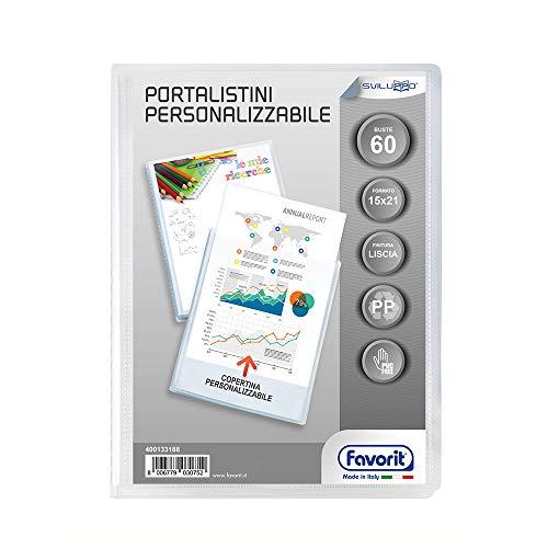 Favorit 400133188 -  Portalistino con Buste Fisse e Tasca Frontale Personalizzabile per Fogli 60 Buste, A5, Trasparente