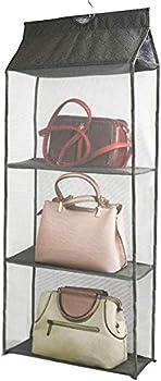 Hanging Handbag Purse Organizer 3 Grids Pockets Foldable Hanging Bag