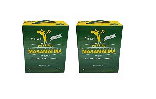 2x 3 Liter Retsina Malamatina Bag in Box mit Zapfhahn geharzter Weißwein aus Griechenland - griechischer traditioneller Weiß Wein mit Harz 2er Pack Spar Set + 2x 2g Probiersachet Frappe Kaffee