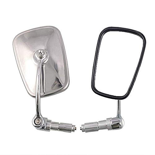 Vista posterior de la motocicleta 2PC Universal Chrome retrovisor espejo manillar extremo espejo Motocicleta Chopper Scooter Accesorios para la mayoría de las motocicletas, moto, crucero Accesorios de